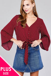 Ladies fashion plus size 3/4 bell sleeve v-neck w/button front tie detail dot printed crinkle gauze woven top - Kendalls Deals