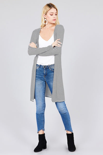 Ladies fashion plus size long sleeve open front side slit stripe tunic length rayon spandex rib cardigan - Kendalls Deals
