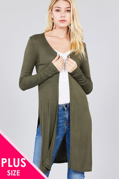 Ladies fashion plus size long sleeve open front side slit tunic length rayon spandex rib cardigan - Kendalls Deals