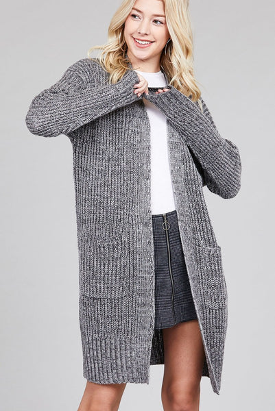 Ladies fashion plus size dolmen sleeve open front w/patch pocket marled sweater cardigan - Kendalls Deals