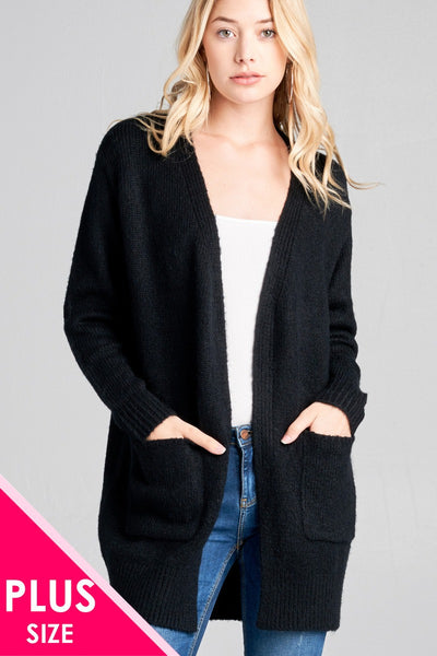 Plus size long sleeve open front w/pocket tunic sweater cardigan - Kendalls Deals