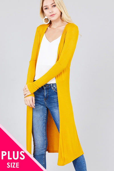 Ladies fashion plus size long sleeve open front side slit long length rayon spandex rib cardigan - Kendalls Deals