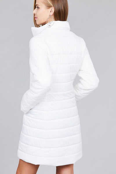 Long sleeve quilted long padding jacket - Kendalls Deals