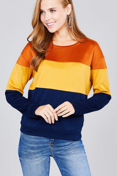 Long sleeve round neck color block pattern brushed french terry top - Kendalls Deals