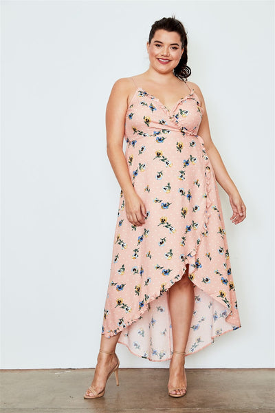 Plus Size Peach Flower Print Hi-low Wrap Midi Dress - Kendalls Deals