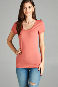 Basic Short Sleeve Scoop-neck Tee - Kendalls Deals