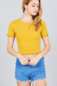 Short Sleeve Round Neck Lettuce Hem Rib Crop Top - Kendalls Deals