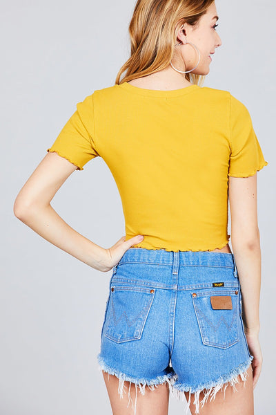 Short Sleeve Round Neck Lettuce Hem Rib Crop Top