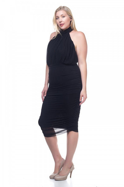 Halter Neck Sheer Midi Dress - Kendalls Deals