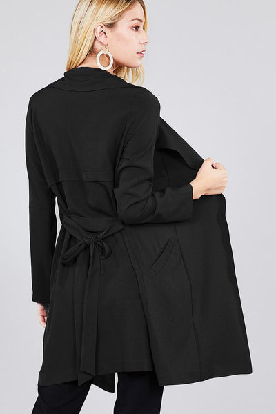 Long Sleeve Notched Collar W/waist Belt Long Jacket - Kendalls Deals