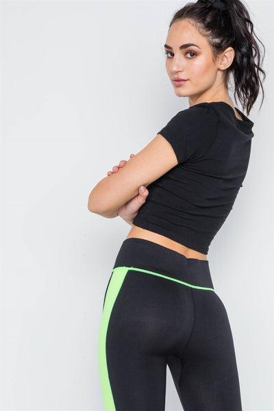 Contrast Stripe Active Sporty Leggings - Kendalls Deals