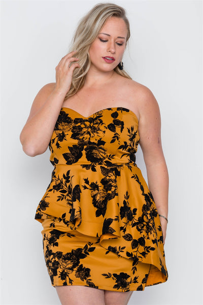 Plus Size Strapless Floral Sweetheart Mini Dress - Kendalls Deals