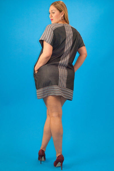 Chambray Denim, Short Sleeve, Striped Contrast Neckline And Trim, Loose Fit Short Dress - Kendalls Deals