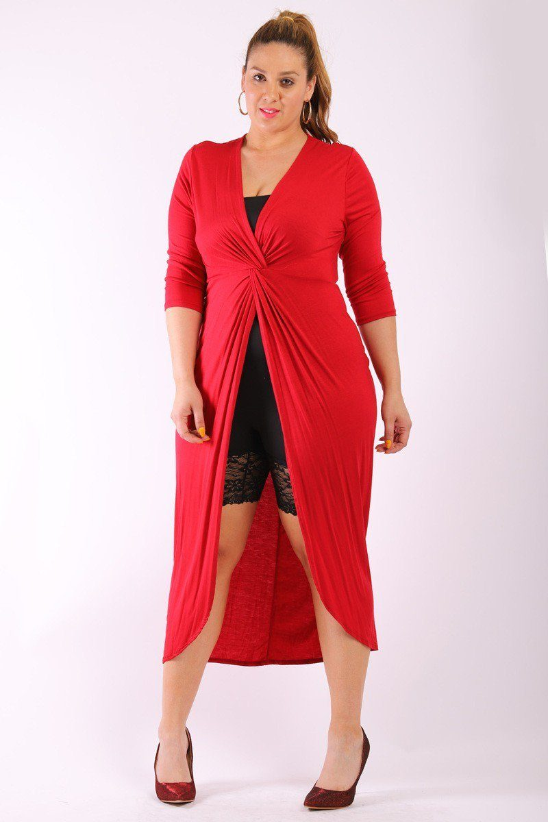 Solid, Long Body Tunic Top In A Fitted Style, With 3/4 Sleeves, A V-Neck, Gathered Knot Detail And A Front Slash Slit - Kendalls Deals