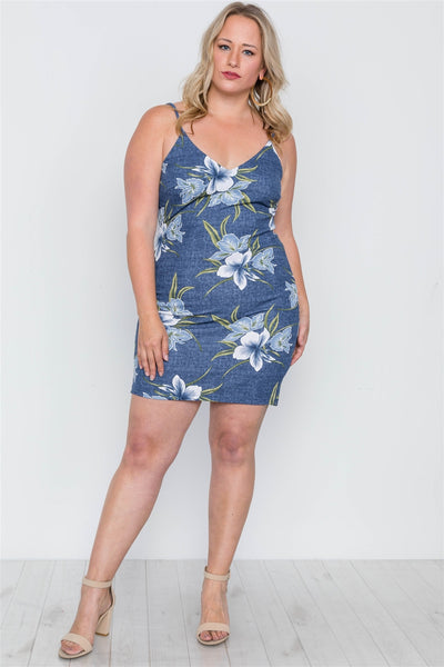 Plus Size Denim Blue Floral Bodycon Mini Dress