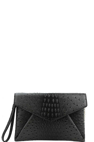 Designer Croc Texture Envelope Clutch With Chain - Kendalls Deals