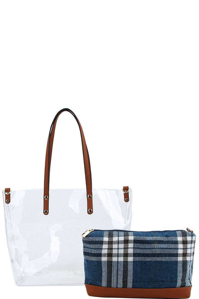2in1 Hot Trendy Transparent Tote Bag With Long Strap - Kendalls Deals