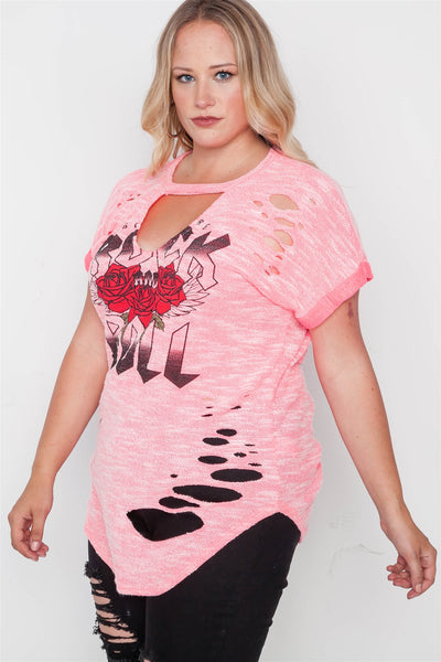 Plus Size Rock And Roll Graphic Cut-out Top - Kendalls Deals
