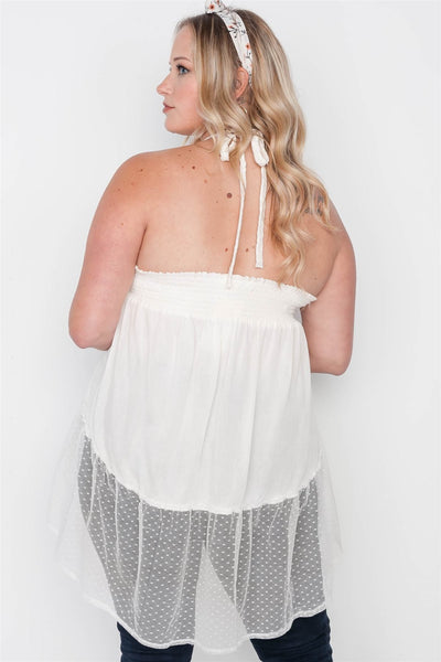 Plus Size Smocked Combo Mesh Top - Kendalls Deals