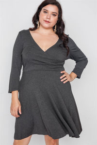 Plus Size Ribbed V-neck Dress - Kendalls Deals
