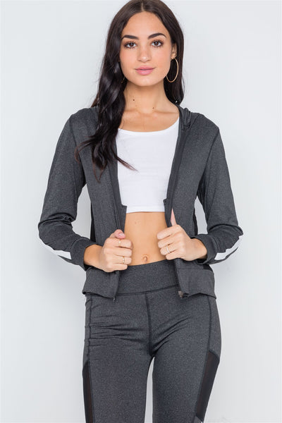 Charcoal Grey Active Two Piece Legging Jacket Set - Kendalls Deals