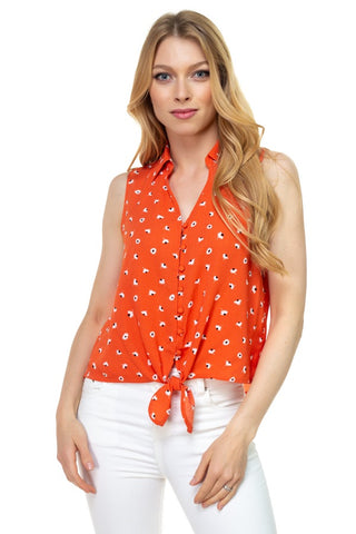 Floral Ditsy Knotted Sleeveless Top - Kendalls Deals