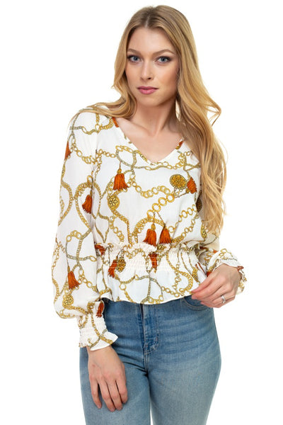 Long Sleeve Baroque & Chain Print Top - Kendalls Deals