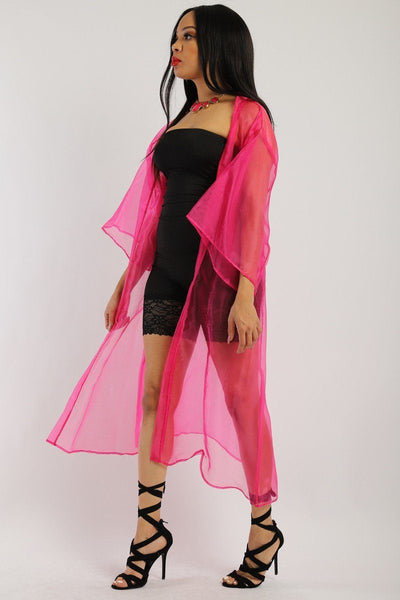 Solid, Organza Chiffon Cardigan With Open Front, Kimono - Kendalls Deals