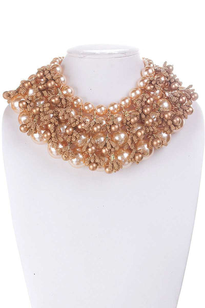 Pearl And Metallic Beads Chunky Necklace - Kendalls Deals