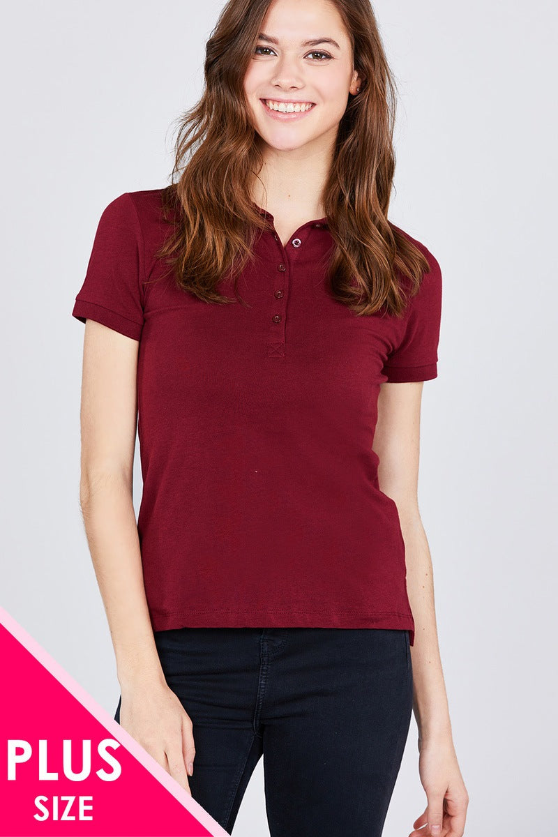 Classic Jersey Spandex Polo Top - Kendalls Deals