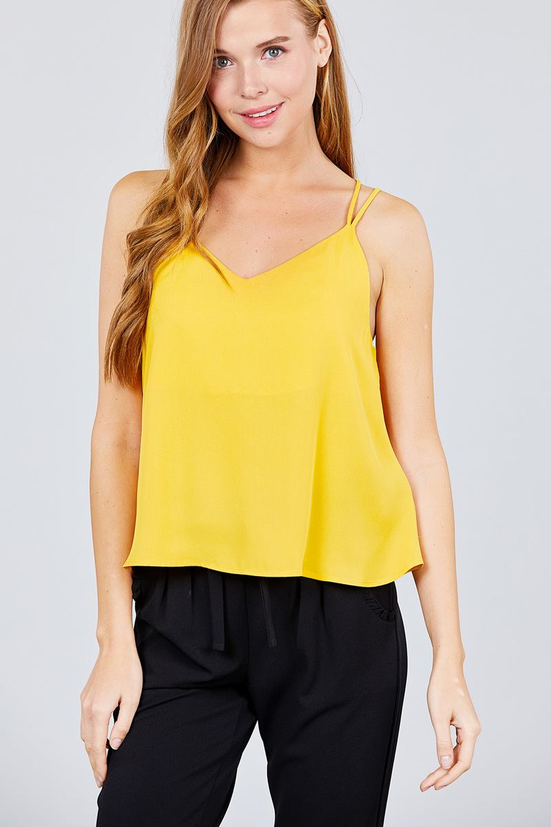 V-neck W/back Cross Strap Cami Woven Top - Kendalls Deals