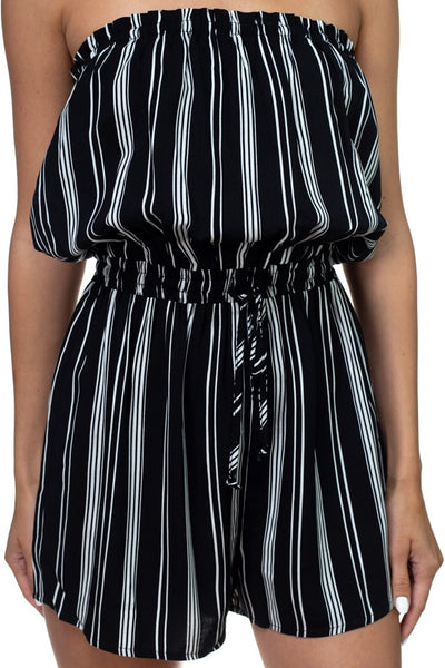 Tube Top Stripe Romper - Kendalls Deals