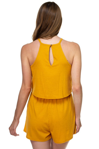 Sleeveless Ribbed Front Tie Romper - Kendalls Deals