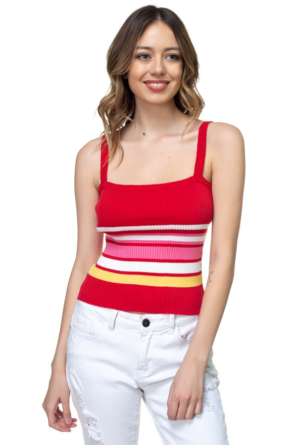Stripe Sweater Cropped Top - Kendalls Deals
