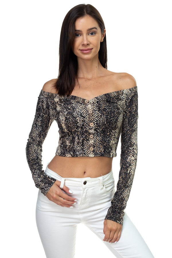 Smocked Off Shoulder Topsnake Print Long Sleeve Cropped Top - Kendalls Deals