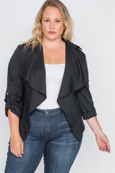 Plus Size Draped Open Front Light Jacket - Kendalls Deals