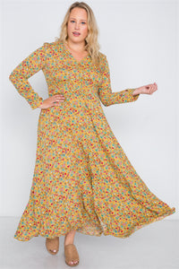 Plus Size  Floral Print Button Down Maxi Dress - Kendalls Deals