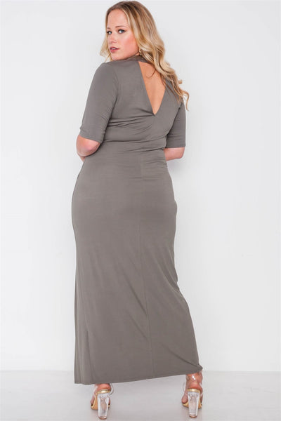 Plus Size Site Slit Mock Neck Maxi Dress - Kendalls Deals