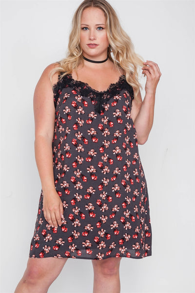 Plus Size Floral Cami Slip Mini Dress - Kendalls Deals