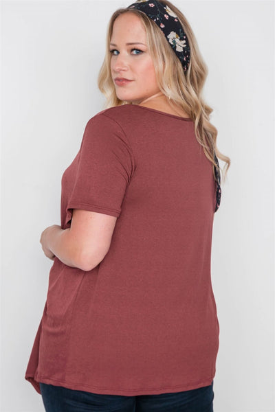 Plus Size Short Sleeve Twist Front Top - Kendalls Deals