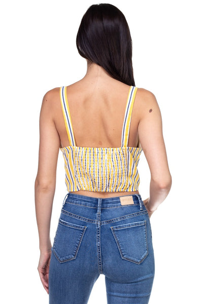Stripe Button Down Cropped Top - Kendalls Deals