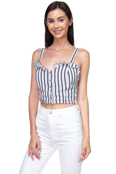 Stripe Button Down Cropped Top