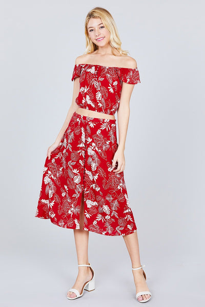 Tulip Sleeve Off The Shoulder Button Down Crop Top And Button Down Midi Skirt Set - Kendalls Deals