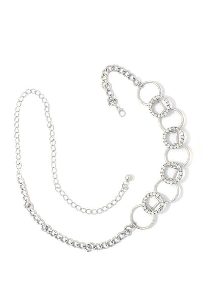 Rhinestone Metal Ring Linked Metal Chain Belt - Kendalls Deals