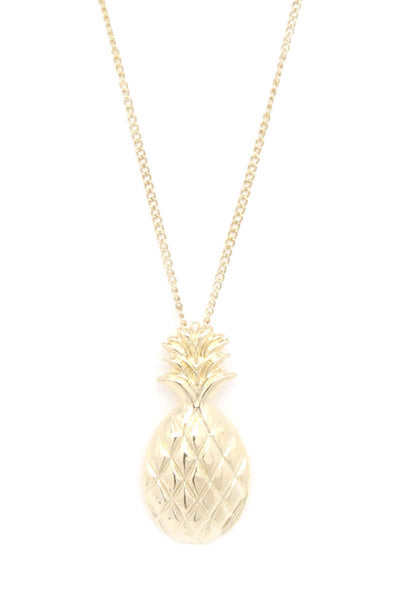 Hammered Pineapple Pendant Multi Cord Necklace And Earring Set - Kendalls Deals