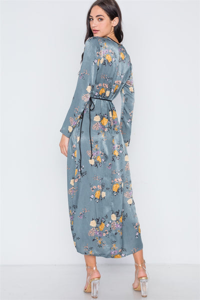 Storm Blue Side Slit Floral Wrap Maxi Dress - Kendalls Deals