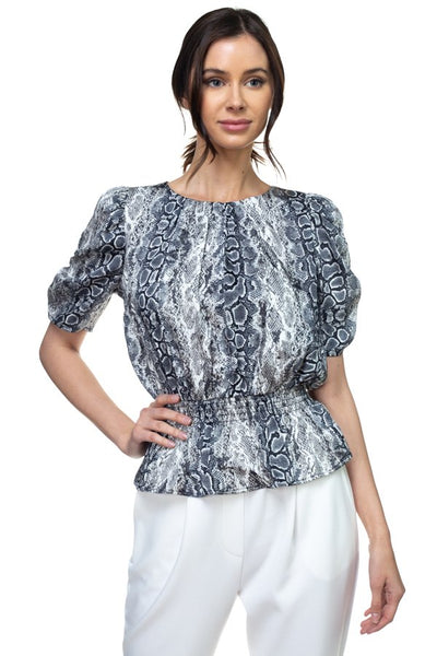 Short Sleeve Smocked Waist Blouse - Kendalls Deals