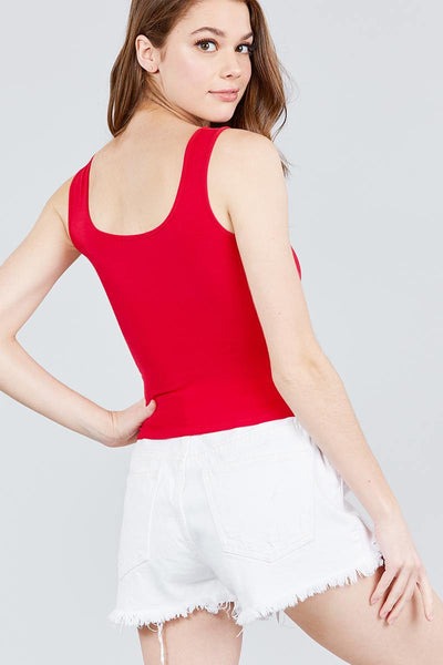 Double Scoop Neck Color Block Knit Tank Top - Kendalls Deals