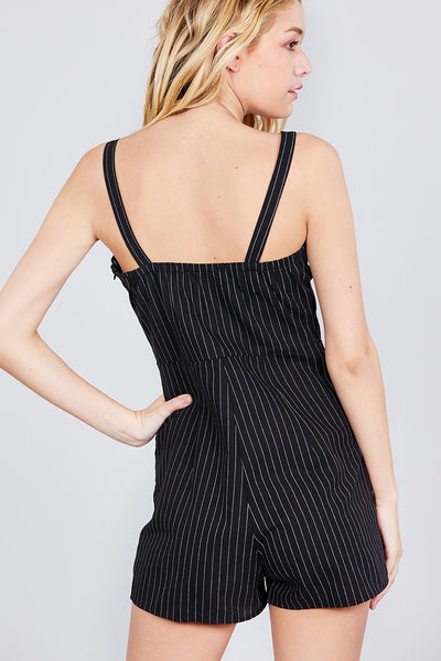 Button Down Yarn Dye Stripe Cami Linen Romper - Kendalls Deals