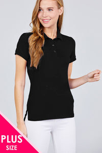 Pique Spandex Polo Top - Kendalls Deals